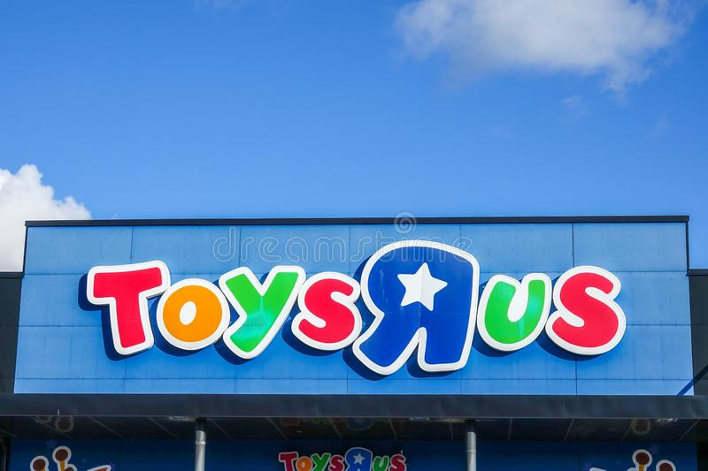 Toys `R` Us, international toy and baby product retailer. Uppsala, Sweden - October 18, 2018: Toys `R` Us, international toy and baby product retailer stock photo