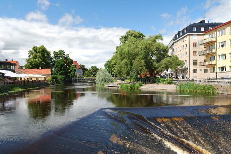 Uppsala, Zweden. Rivier Fyris stock afbeeldingen