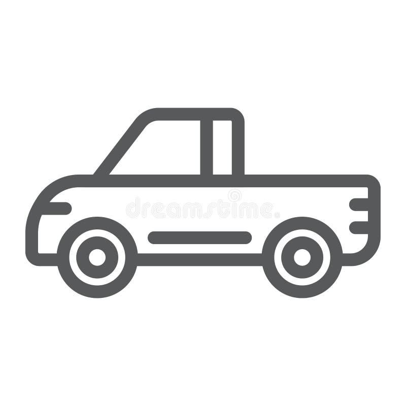Uppsamlingslinje symbol, skåpbil och auto, biltecken, vektordiagram, en linjär modell på en vit bakgrund stock illustrationer