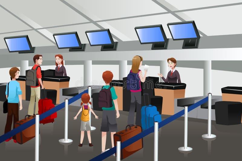 Uppställning på incheckningsdisken i flygplatsen vektor illustrationer