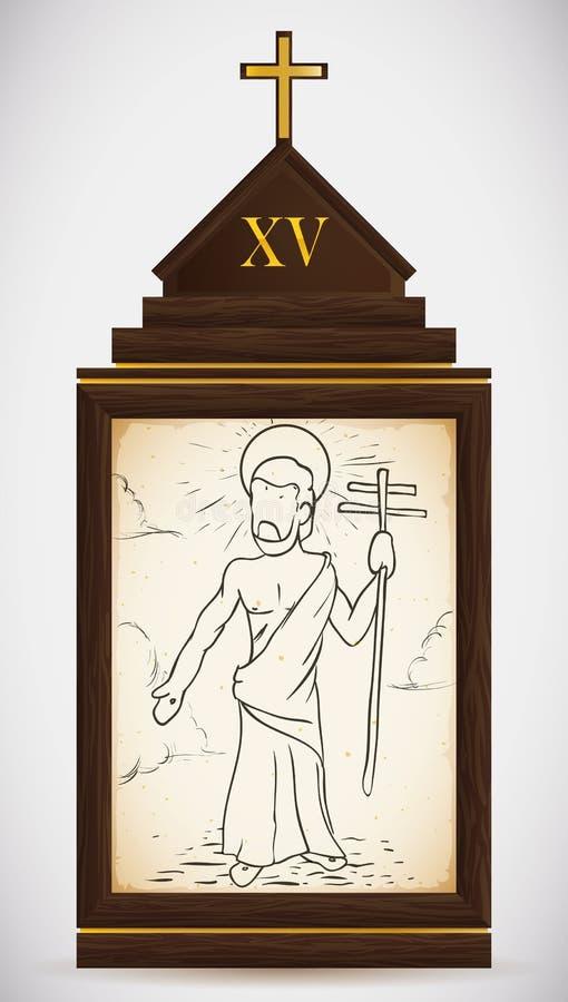 Uppståndelse av Jesus, vektorillustration stock illustrationer
