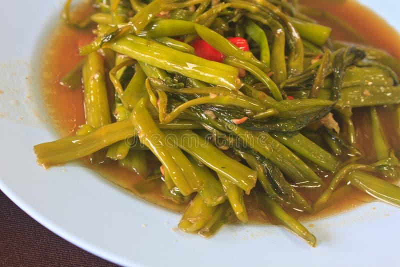 Uppståndelse Fried Water Spinach royaltyfri bild