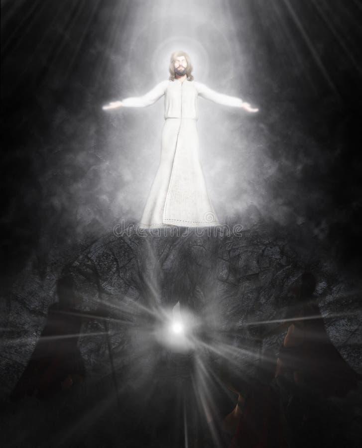 Uppståndelsen av den Jesus illustrationen vektor illustrationer