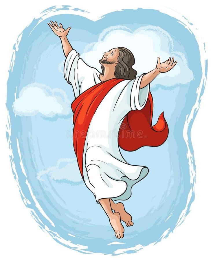 Uppstigning av Jesus som lyfter händer i himmel royaltyfri illustrationer