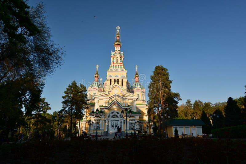 Uppstigningdomkyrkan Panfilov parkerar alluvial kazakhstan fotografering för bildbyråer