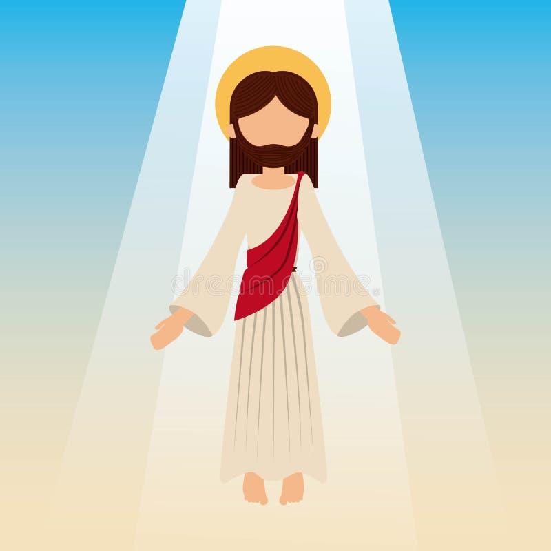 Uppstigningen av jesus christ med blå himmel royaltyfri illustrationer