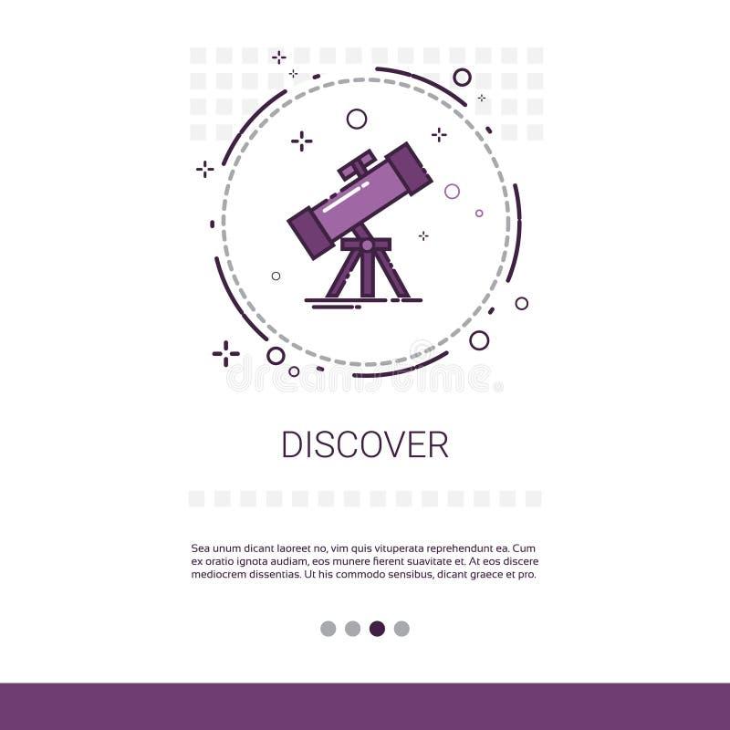 Upptäck banret för rengöringsduken för teleskopastronomivetenskap med kopieringsutrymme royaltyfri illustrationer