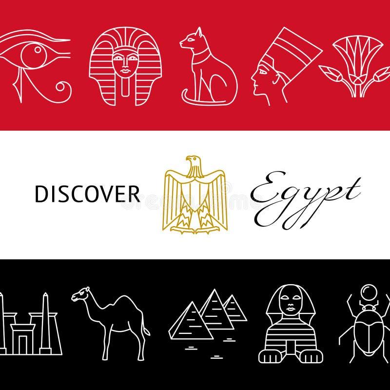 Upptäck det Egypten begreppsbanret med populära symboler och nationsflaggafärger vektor illustrationer