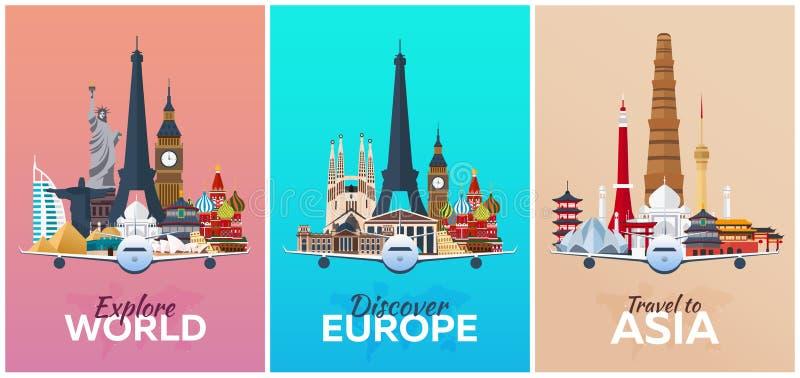 Upptäck Europa, undersök Europa, lopp till Asien semester Tur till landet Resande illustration plant modernt vektor illustrationer