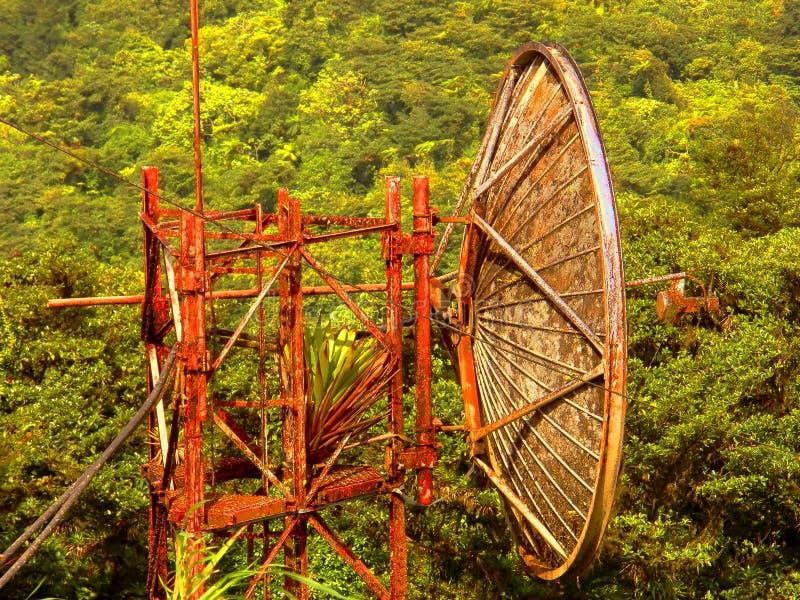 Upptäckt av en gammal satellit- antenn i djungeln royaltyfria bilder