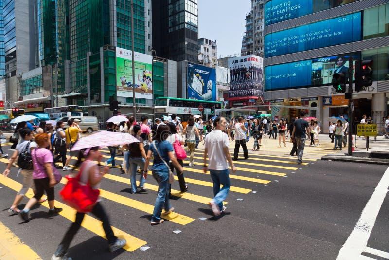 Upptagen övergångsställe i Hong Kong royaltyfri foto