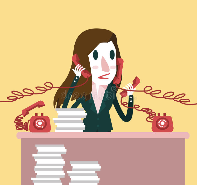 Upptagen affärskvinna som rymmer många telefoner Hårt funktionsdugligt begrepp vektor illustrationer
