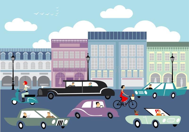 Upptagen gata royaltyfri illustrationer