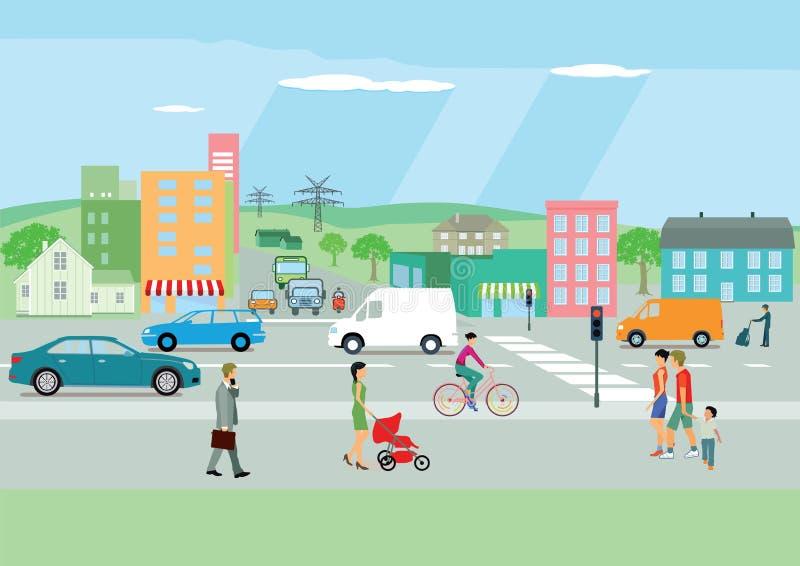 Upptagen gata i en färgrik stad vektor illustrationer