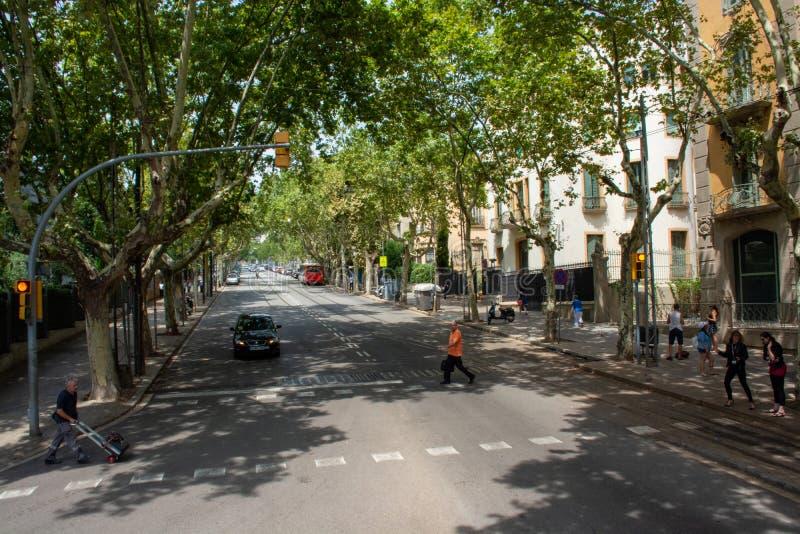 Upptagen gata med gångare som väntar för att korsa vägen av Barcelona royaltyfri bild