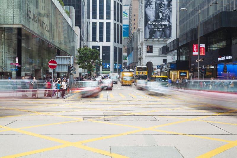 Upptagen genomskärning i centralen, Hong Kong royaltyfri fotografi