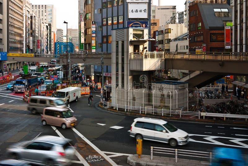 upptagen genomskärning tokyo arkivbild