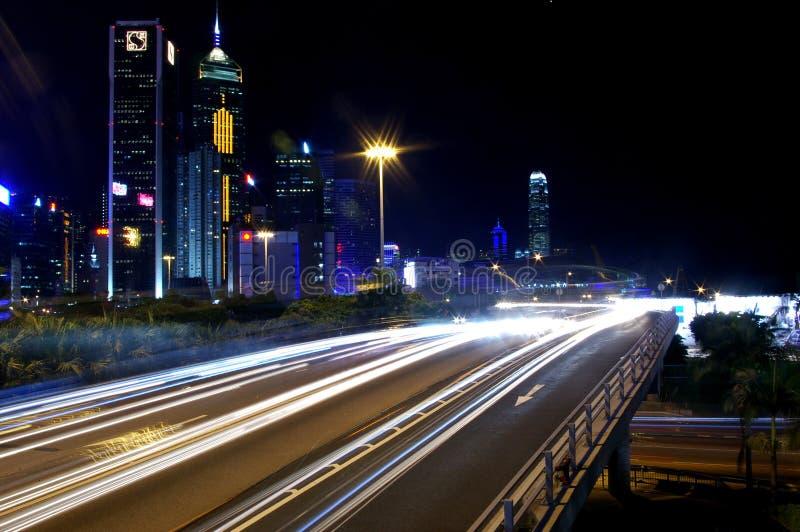 upptagen i stadens centrum Hong Kong trafik royaltyfri bild