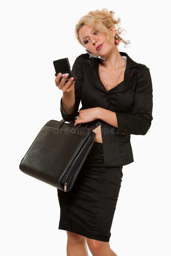 upptagen kvinna för affär royaltyfri bild