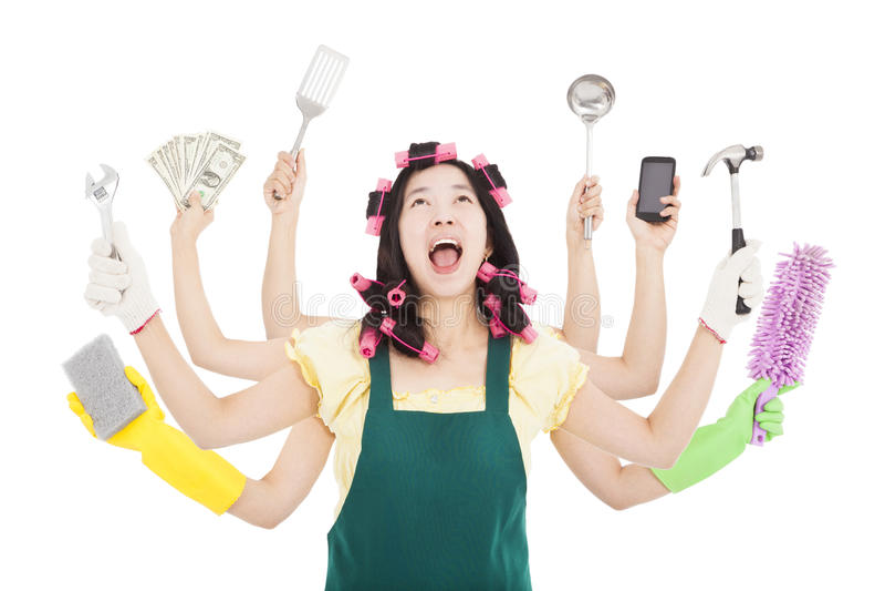 Upptagen kvinna med multitaskingbegrepp fotografering för bildbyråer