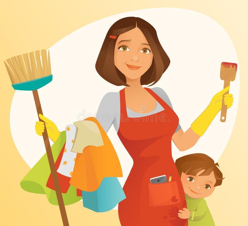 upptagen mom stock illustrationer