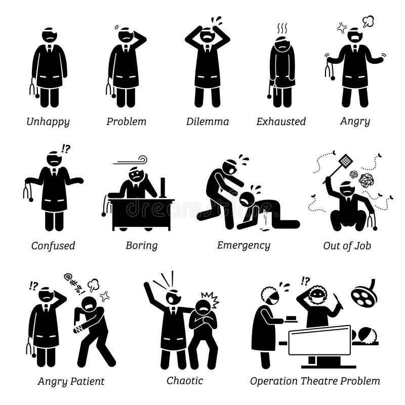 Upptagen och olycklig doktor stock illustrationer