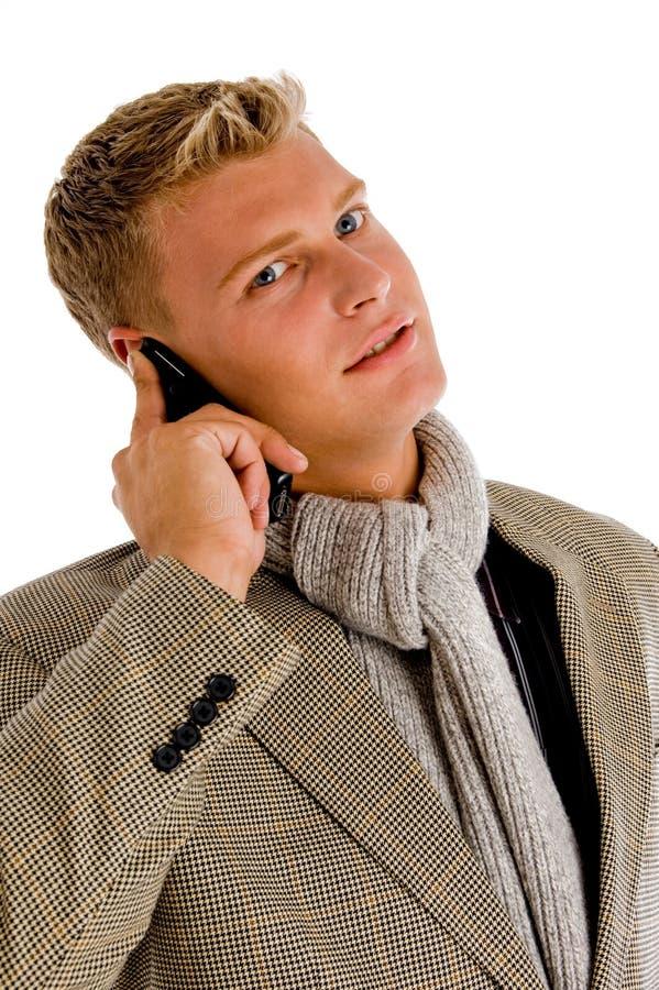 upptagen professionell för felanmälanspersontelefon royaltyfri fotografi