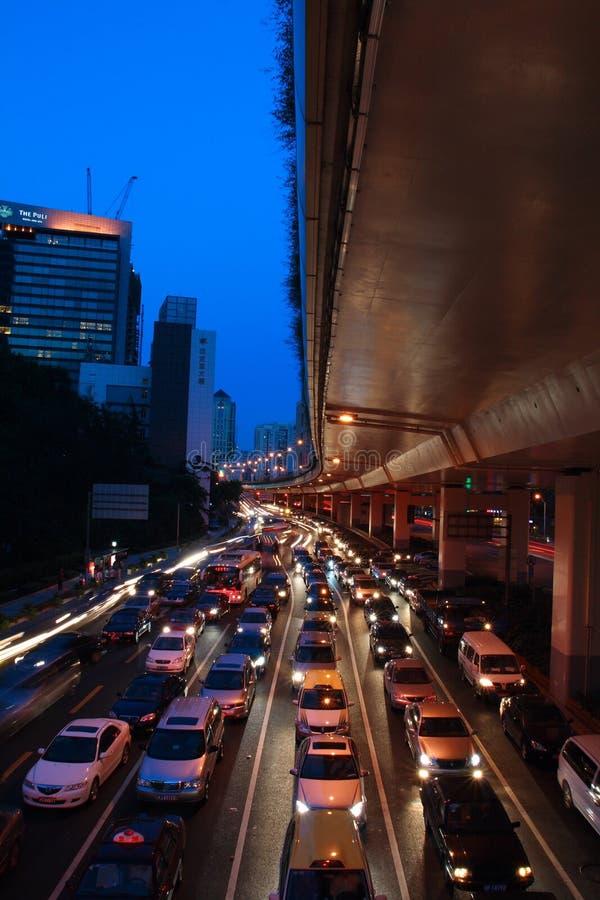 upptagen shanghai trafik royaltyfri fotografi