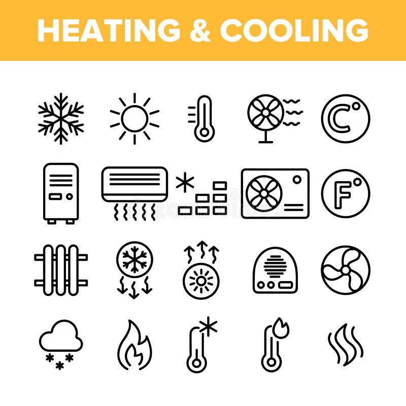Uppvärmning och uppsättning för symboler för kylsystemvektor linjär stock illustrationer