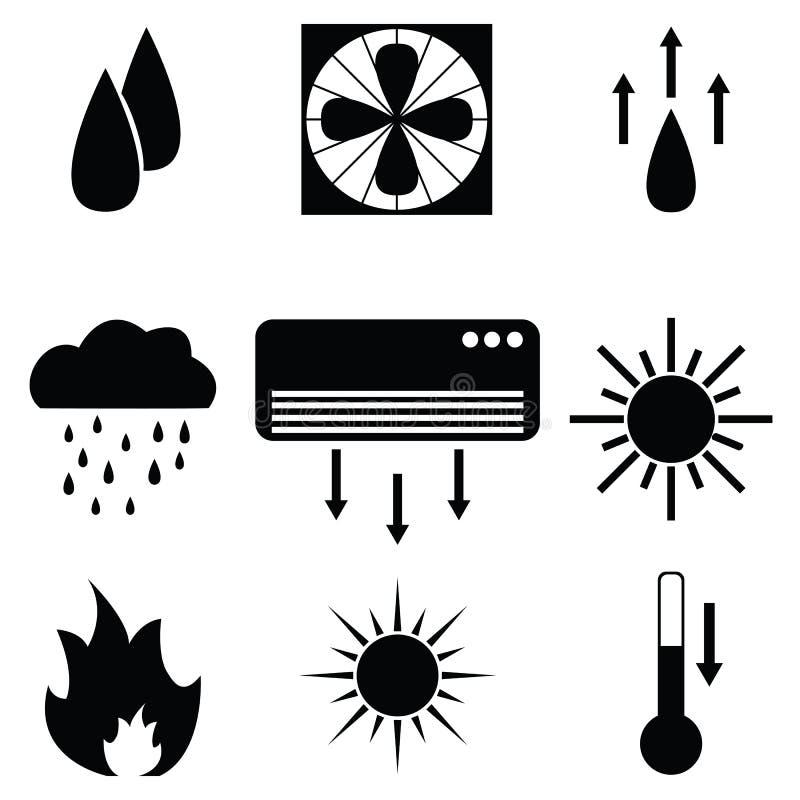 Uppvärmningsymbolsuppsättning royaltyfri illustrationer