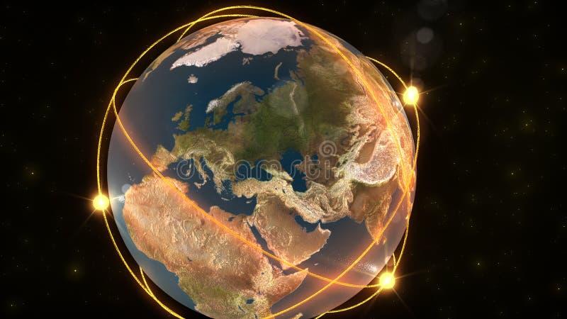 uppvisning för globalt nätverk för animering vektor illustrationer