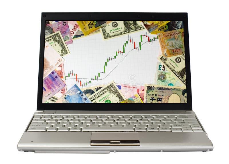uppvisning för marknad för tjurdiagrambärbar dator arkivbild