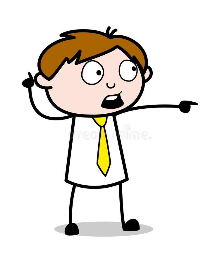Uppvisning, genom att peka fingret - kontorsrepresentantEmployee Cartoon Vector illustration royaltyfri illustrationer