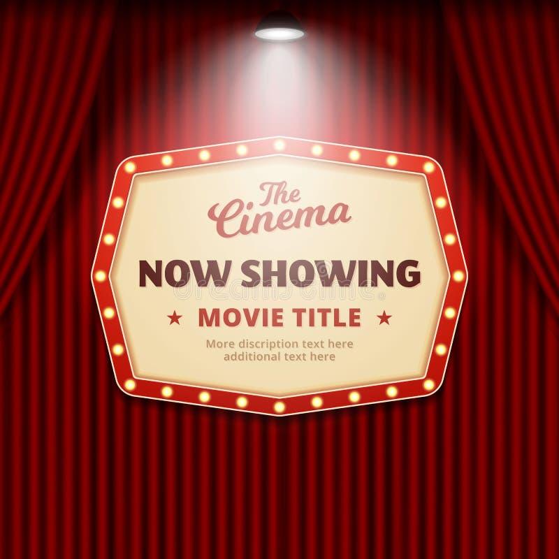 Uppvisning nu av film i bioaffischdesign retro teatertecken med strålkastaren och den röda illustrationen för gardinbakgrundsvekt vektor illustrationer