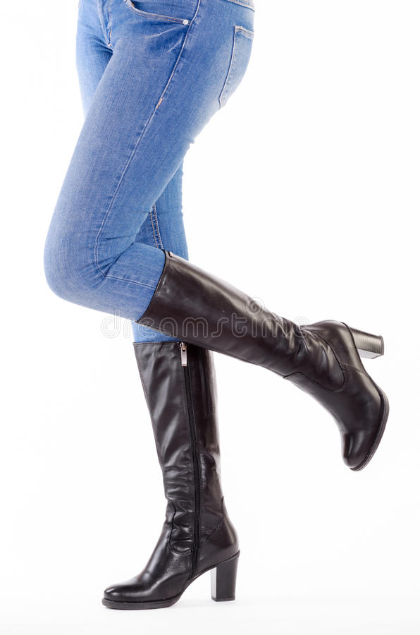 Upraised legs with jeans. Isolated royalty free stock photos