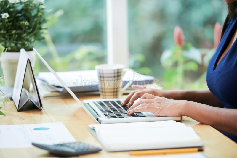 Uprawa bizneswoman używa laptop obraz stock