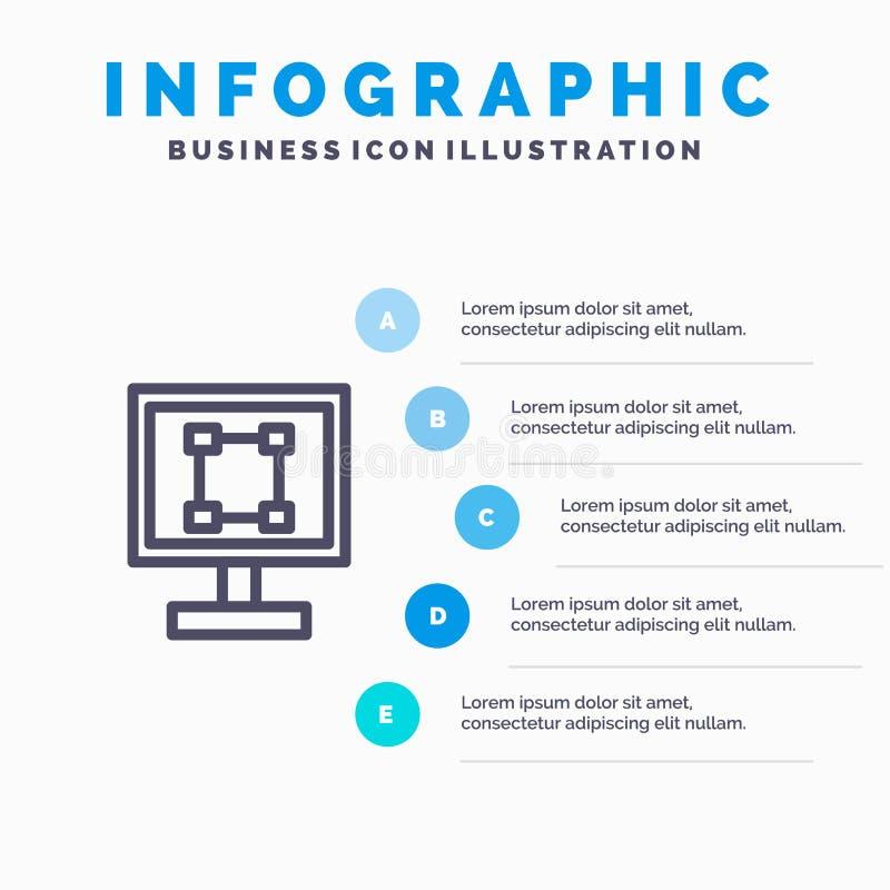 Uprawa, grafika, projekt, program, zastosowanie Kreskowa ikona z 5 kroków prezentacji infographics tłem ilustracji