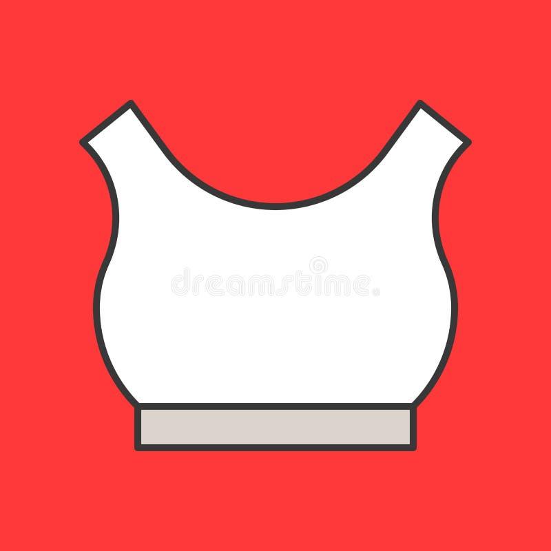 Uprawa wierzchołek lub sporta stanika ikona, wypełniający koloru konturu editable uderzenie ilustracji