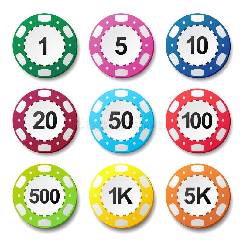 Uprawiać hazard kasynowego grzebaków układów scalonych liczb koloru znaka ilustracja wektor