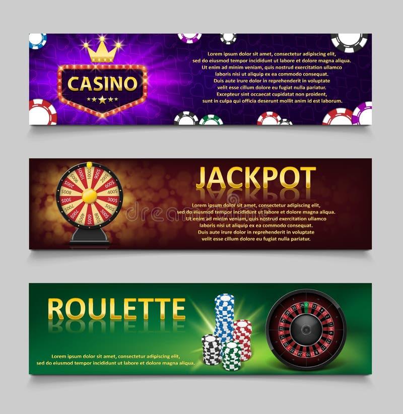 Uprawiać hazard sztandary z Ruletowego koła i kasyna układami scalonymi, loteryjna maszyna, złocisty pomyślności koła set Kasynow ilustracja wektor