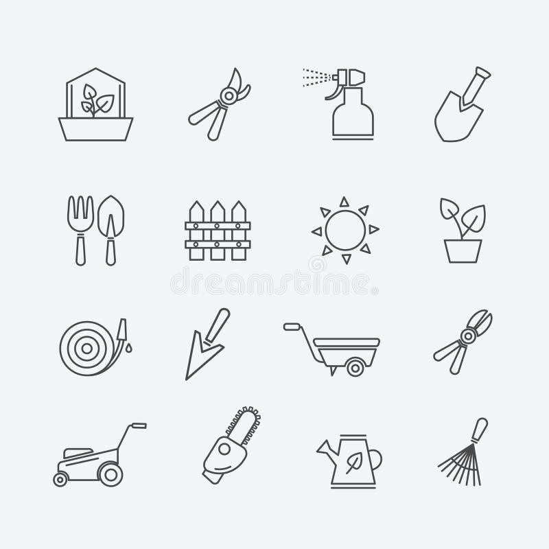 Uprawiać ogródek kreskowe ikony Ogrodniczek narzędzia i ogrodowi elementu konturu znaki Płotowi secateurs, gazonu kosiarza natrys royalty ilustracja