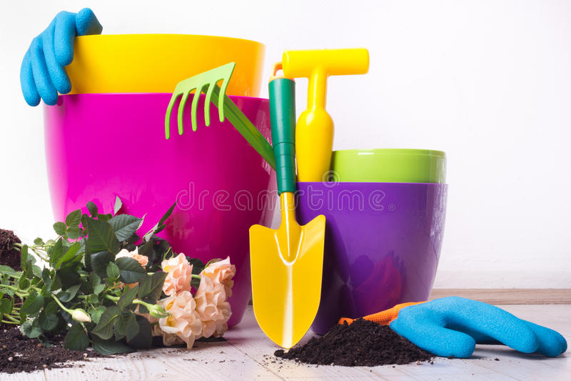 Uprawiać ogródek narzędzia i rośliny na podłoga obrazy stock