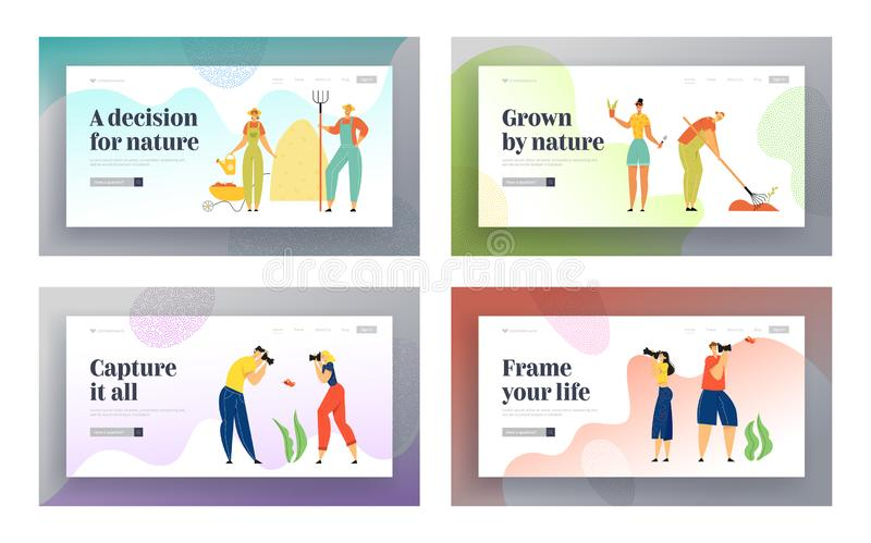 Uprawiać ogródek, opieka rośliny i Fotografować ludzie strony internetowej lądowania strony setu Uprawia ziemię przemysłu, Ekolog ilustracji