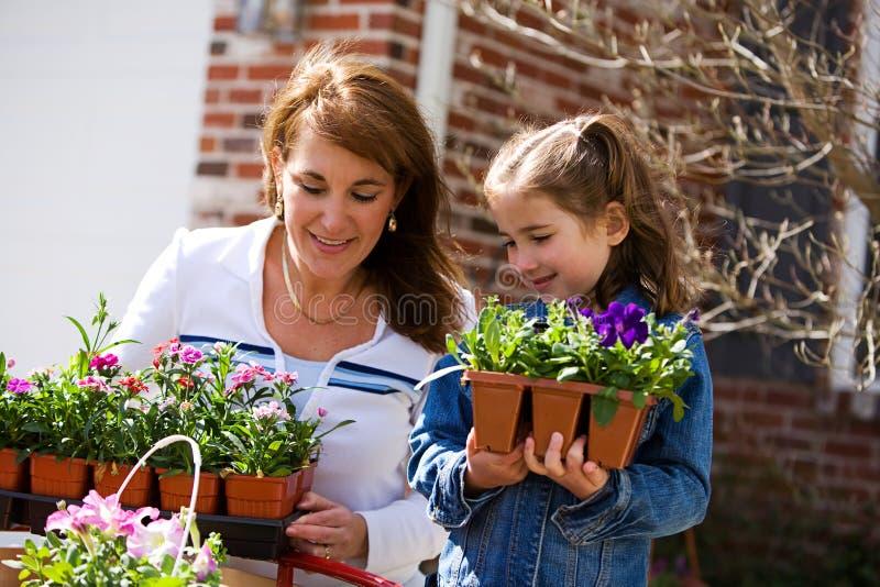 Uprawiać ogródek: Rodzic i dziecko Przygotowywający Zasadzać kwiaty fotografia royalty free