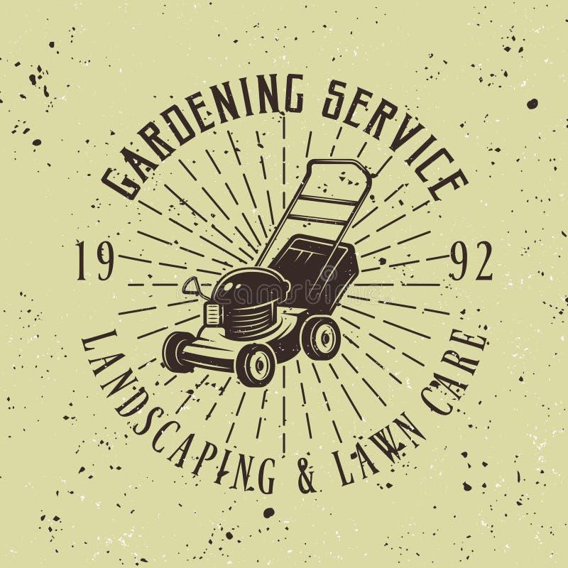 Uprawiać ogródek usługowego wektorowego emblemat z gazonu kosiarzem ilustracja wektor