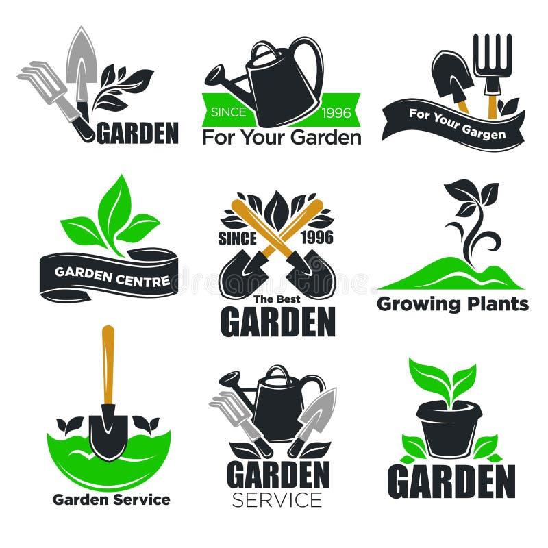 Uprawiać ogródek usługowych, ogrodowych rośliien loga szablony dla i ilustracji