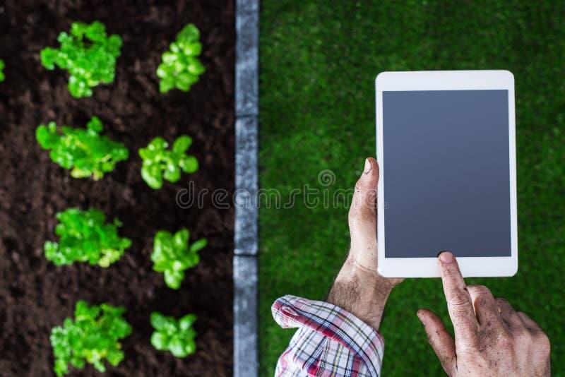 Uprawiać ziemię i technologia fotografia stock