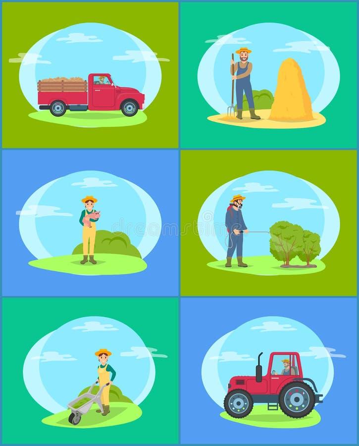 Uprawiać ziemię osoby i ciężarówki Ustaloną Wektorową ilustrację ilustracji