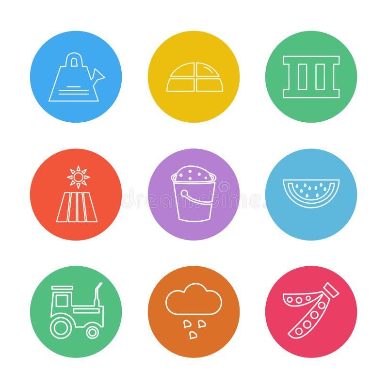 uprawiać ziemię rolny, wiejski, owoc, wioska, eps ikony ustawia wektor royalty ilustracja