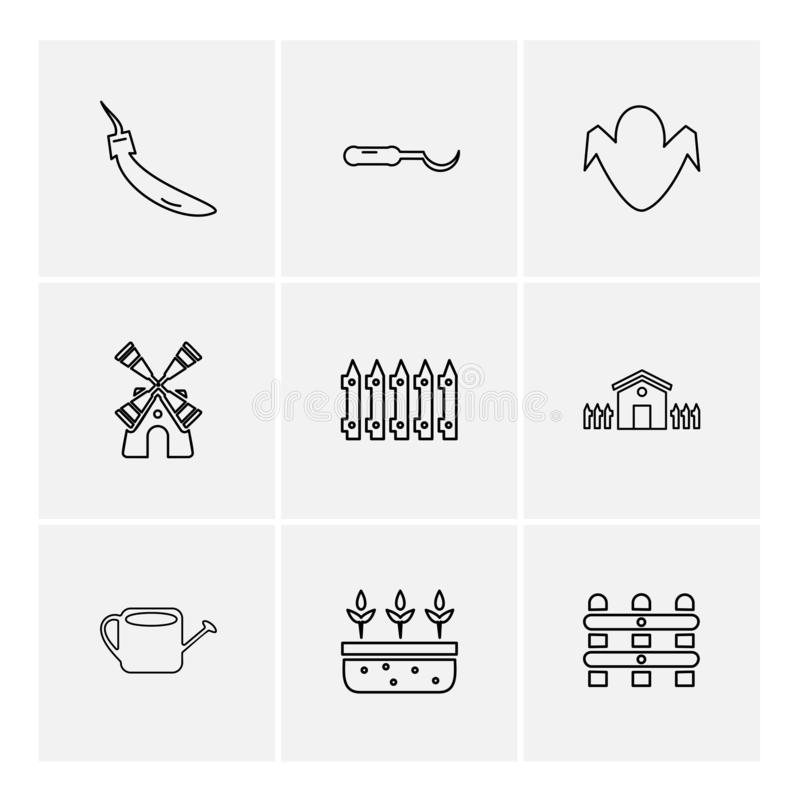 uprawiać ziemię rolny, wiejski, owoc, wioska, eps ikony ustawia wektor ilustracji